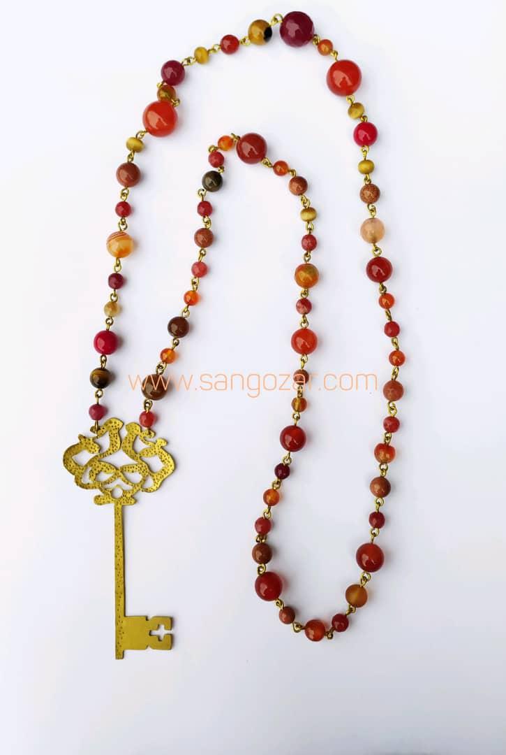 گردنبند بلند سنگ عقیق (مجموعه ای از سنگهای قرمز
