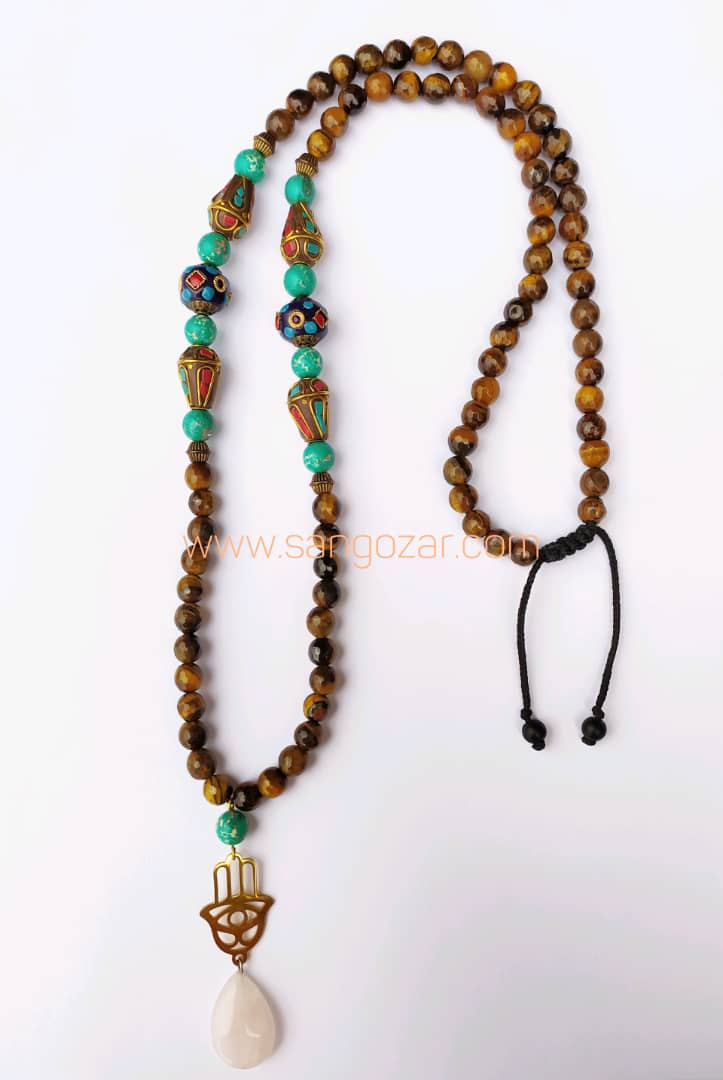 گردنبند بلند چشم ببر، فیروزه آفریقایی ، سنگ تبتی و مدال رزکوارتز