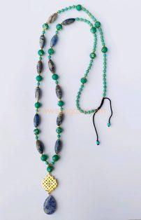 گردنبند بلند سودالایت ، فیروزه آفریقایی و مدال سنگ اشکی سودالایت