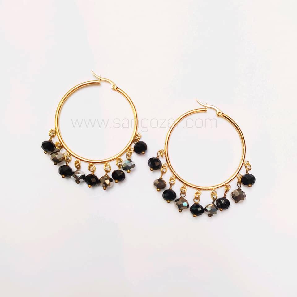گوشواره حلقه ای استیل طلایی و کریستال مشکی و نقره ای