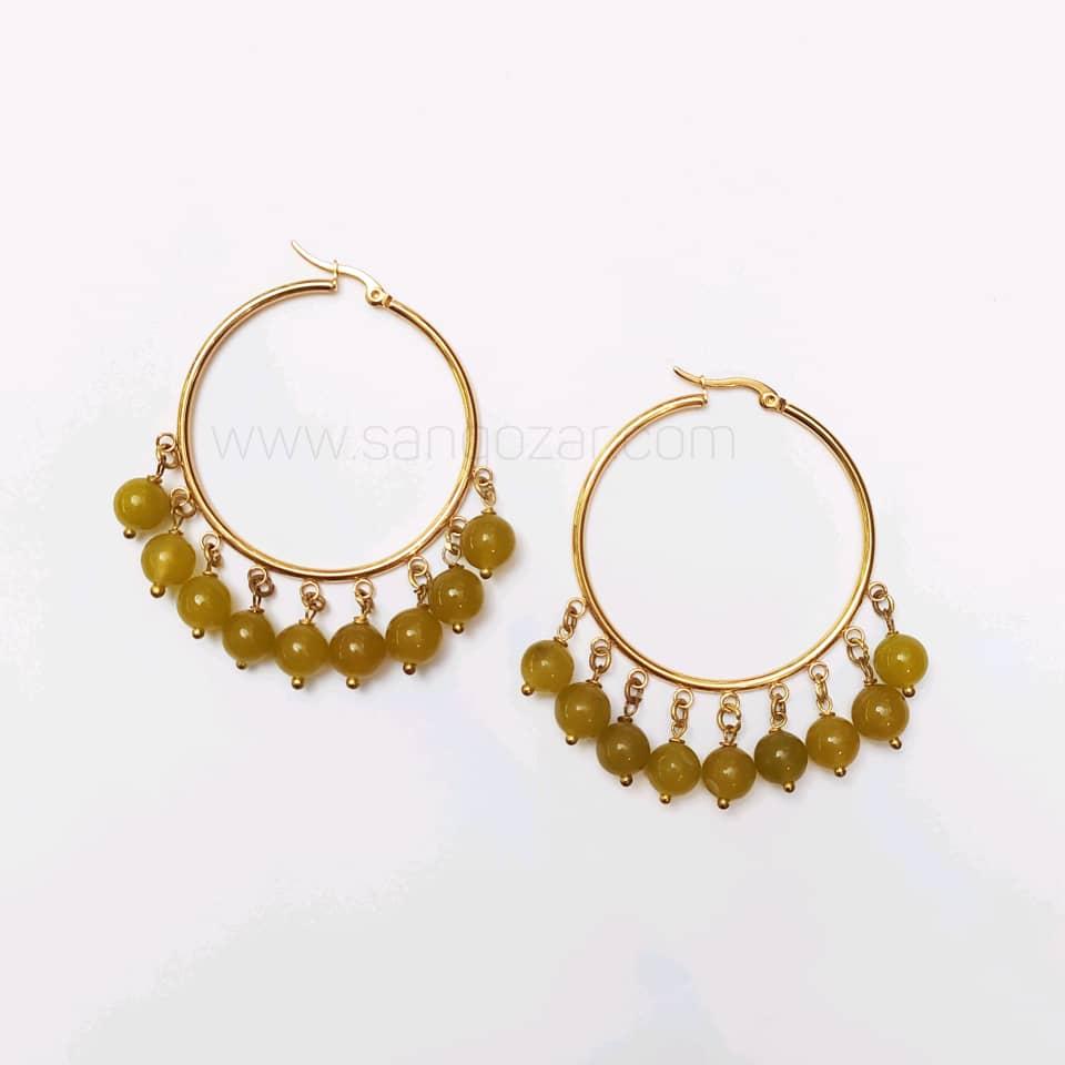 گوشواره حلقه ای استیل طلایی و سنگ یشم