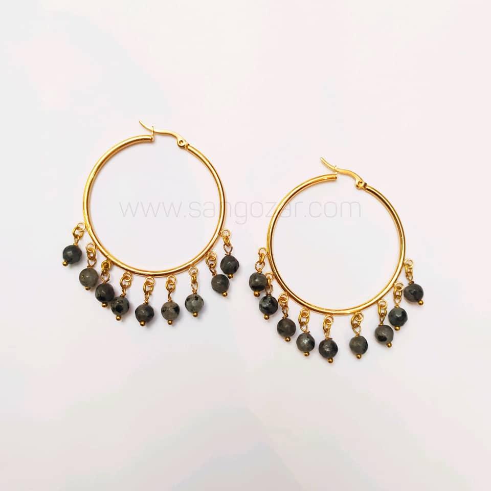 گوشواره حلقه ای استیل طلایی و سنگ لابرادورایت
