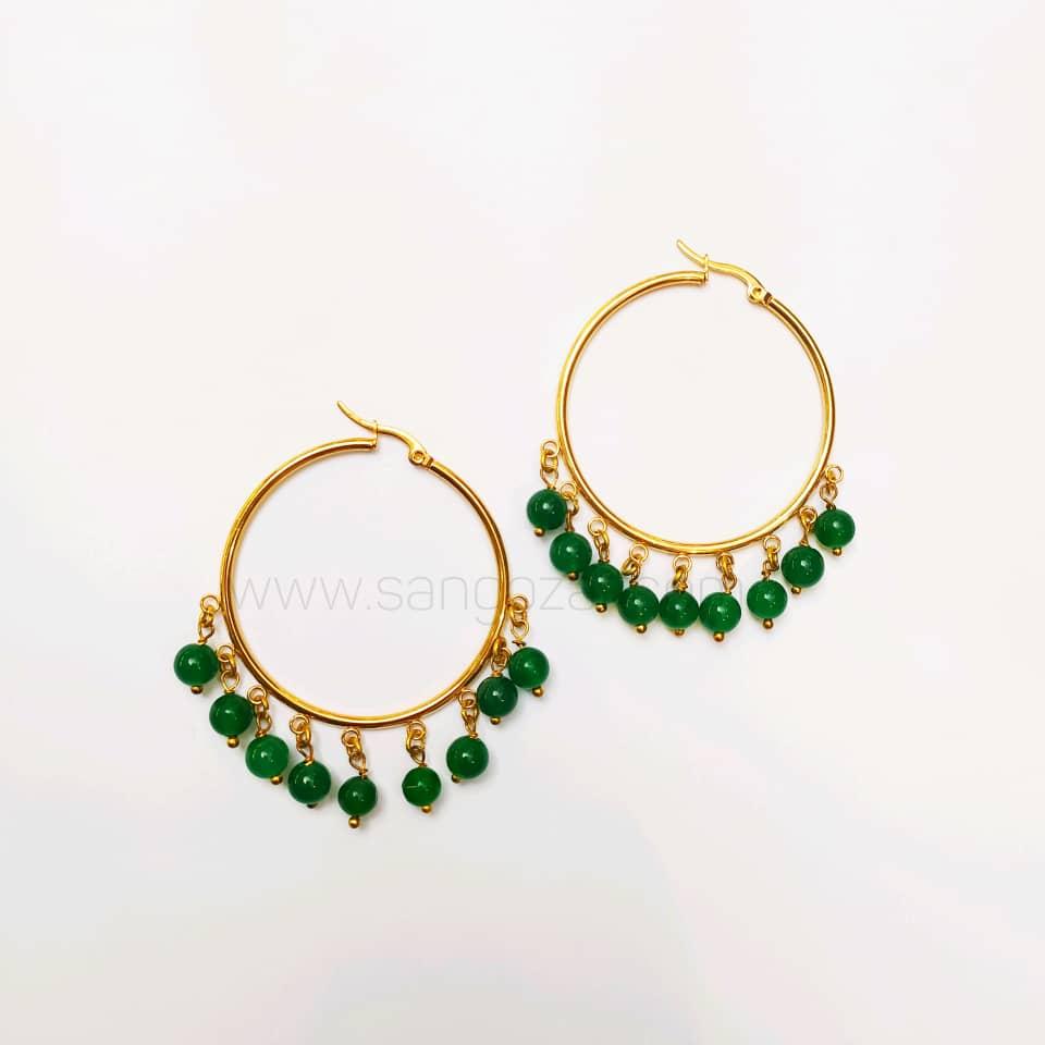 گوشواره حلقه ای استیل طلایی و سنگ عقیق سبز