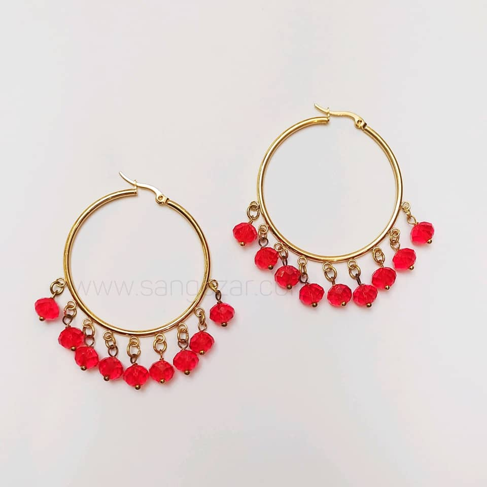 گوشواره حلقه ای استیل طلایی و کریستال قرمز