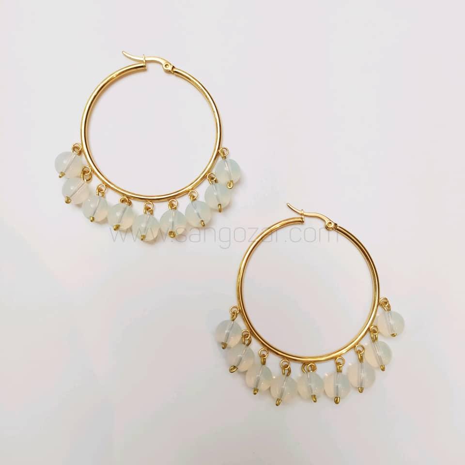 گوشواره حلقه ای استیل طلایی و سنگ مون استون ( سنگ ماه )