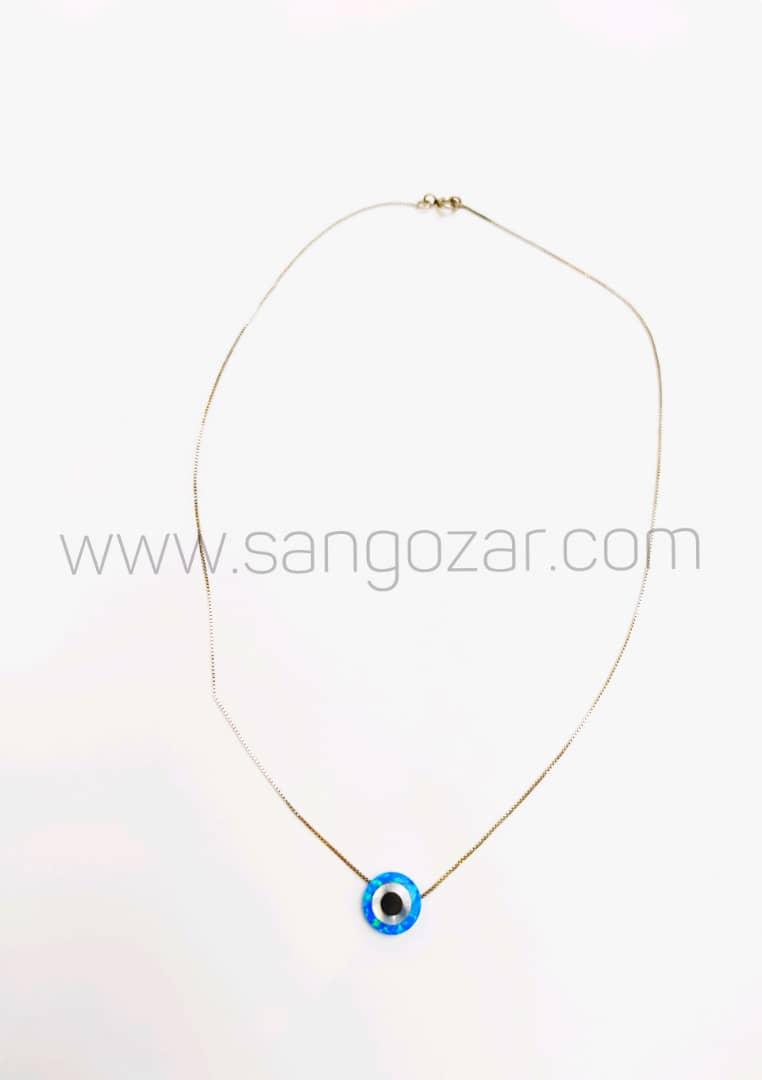 گردنبند کوتاه زنجیر نقره و سنگ اوپال