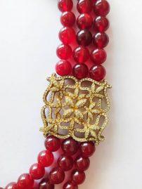 گردنبند مدال طرح جواهر نقره آب طلا ایتالیایی و یاقوت هندی