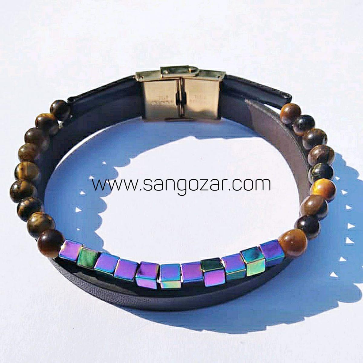 دستبند دو دور چرم و سنگ حدید و سنگ چشم ببر (sz13257)