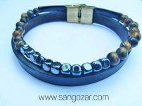دستبند دو دور چرم و سنگ حدید و سنگ چشم ببر (sz13258)