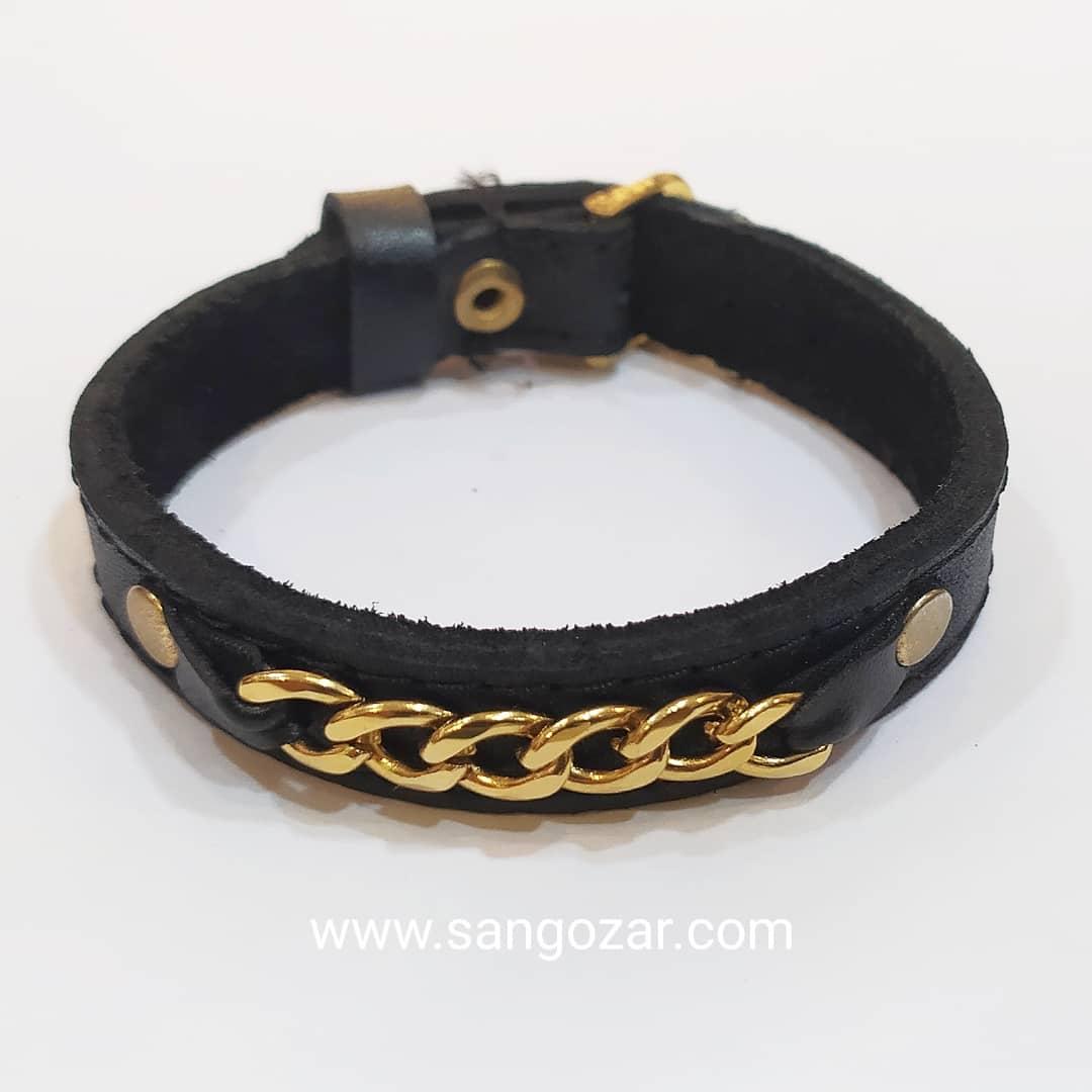 دستبند چرم و پلاک استیل رنگ ثابت (sz13266)