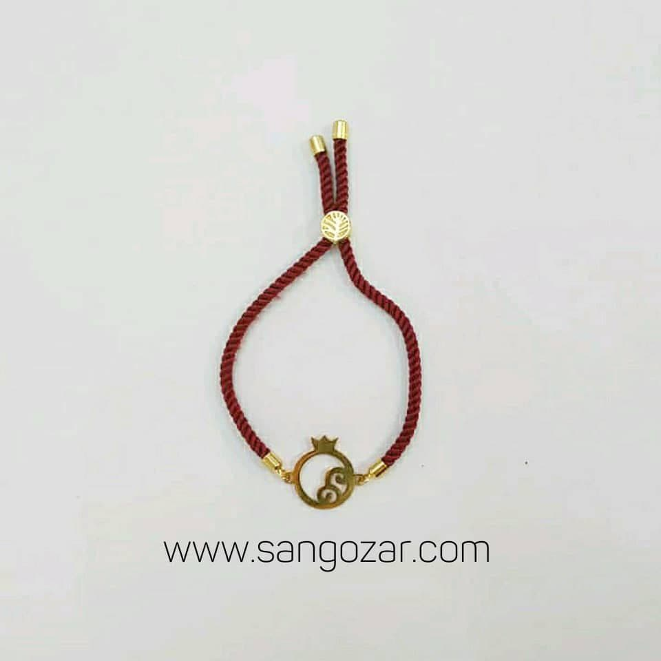 دستبند پلاک استیل رنگ ثابت با بند قیطونی (sz13265)